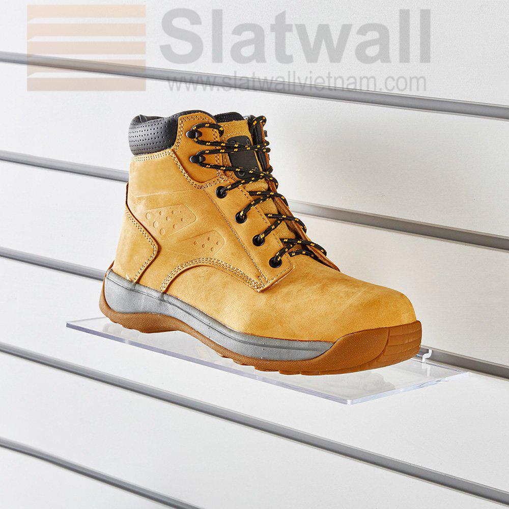 Kệ Mica để giày cài tấm gỗ Slatwall MCG01
