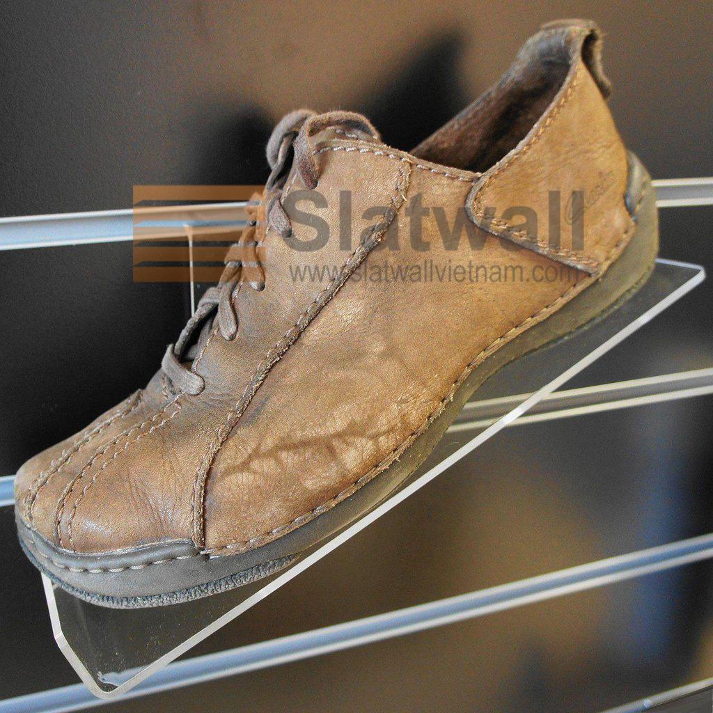 Kệ Mica để giày cài tấm gỗ Slatwall MCG03