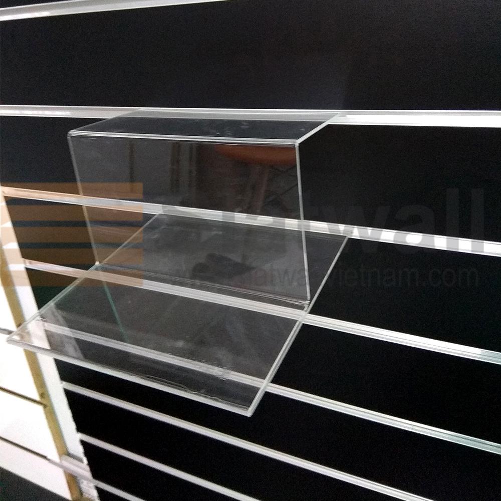 Kệ mica 2 tầng cài tấm gỗ soi rãnh slatwall MCG06